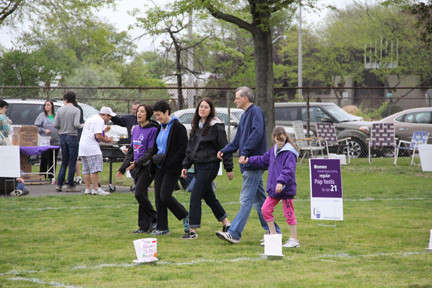 Susan Kay, Sue Plass, Sara Ectstein, and Seth and Rachel Zeitlin were among the walkers at the Bellmore-Merrick Relay For Life.