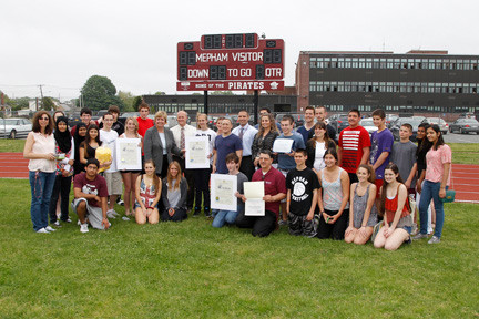 Students, teachers and administrators joined with Hempstead Town Supervisor Kate Murray as several citations were given to the walk-a-thon�s three sponsoring clubs: Habitat for Humanity, Students Against Destructive Decisions and Key Club.