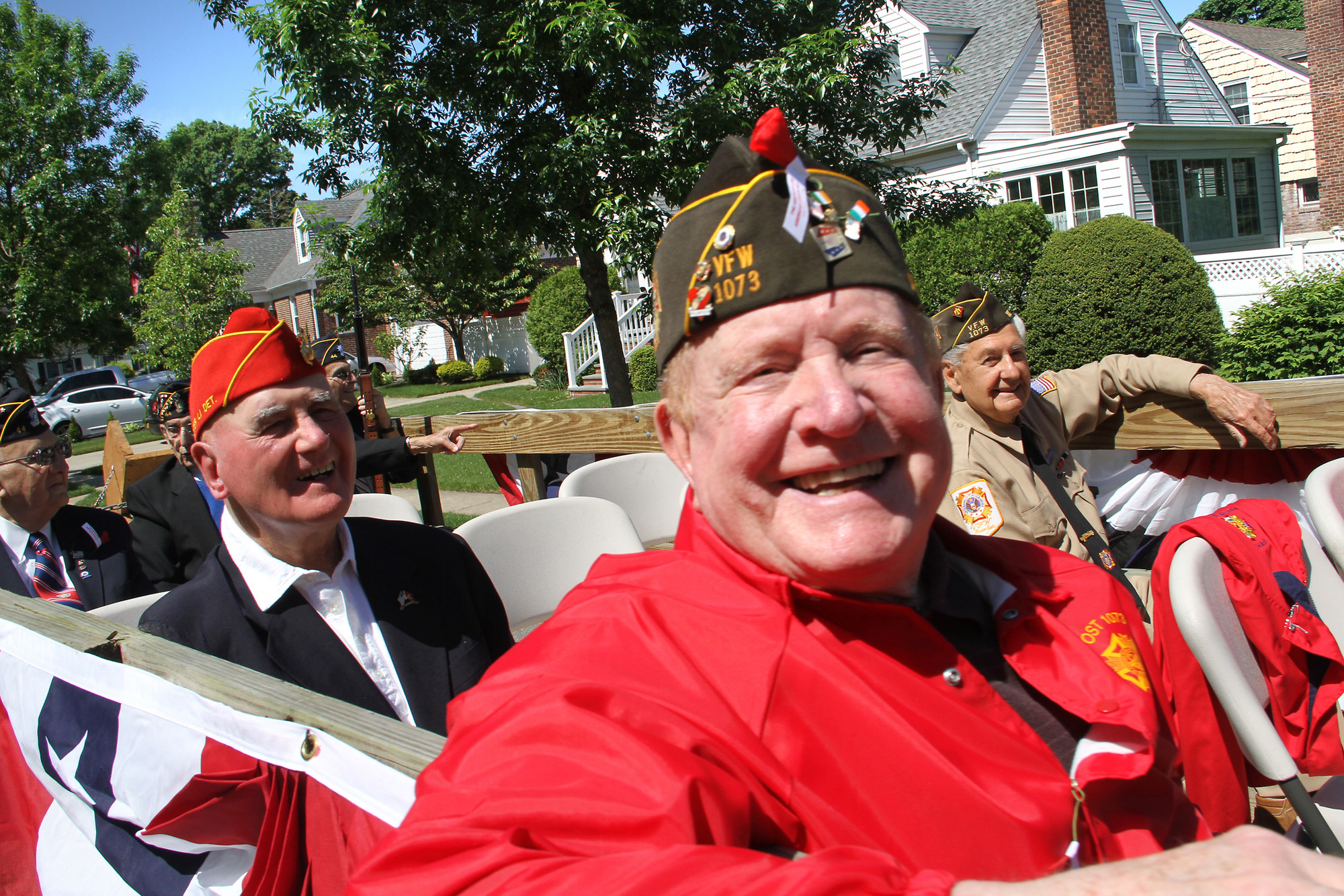 Malverne veterans from Korea and Vietnam ride the parade route.