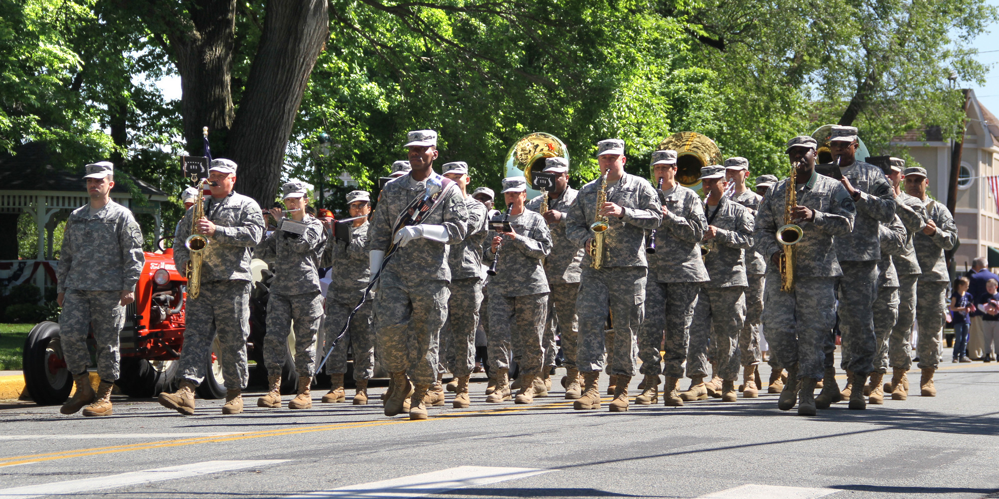 The 319th Army Reserve Band, stationed at Fort Totten, in Queens, led the parade through Malverne on Memorial Day.