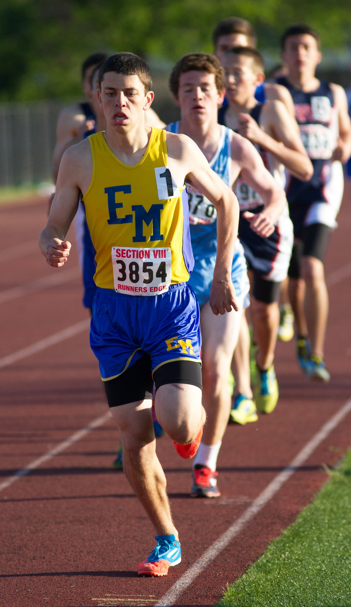 East Meadow senior Brad Kaufmann won the Nassau Class AAA 3,000 meter steeplechase event with a time of 9 minutes, 44.1 seconds.