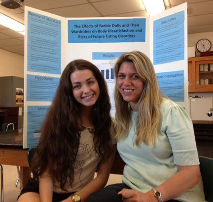 Kennedy High School junior Rebecca Jellinek, 16, was recently named a finalist at the Long Island Science Congress in a field largely composed of seniors. She was joined here by one of her research advisers, Kennedy Advanced Placement biology teacher Barbi Frank.