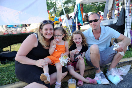 Jessica, Jordan, Aubree and Kevin Wessel, from left, didn't have to go far for the festival, held in their hometown of Bellmore.