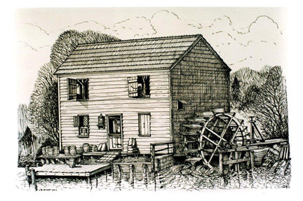In order to take a look back at the Grist Mill, the Historical Society of East Rockaway and Lynbrook were fortunate enough, and very grateful, to be able to share a drawing by artist John Bishop, depicting the mill as it once stood.