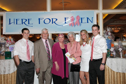 Hundreds gathered to support Ellen Palmer and raise money for breast cancer research at Verdi's Banquet Hall in Westbury on May 30. Above, Palmer, third from left, was joined by, from left, her son Michael, husband George, mother Anne, daughter Maggie and son Kelly.