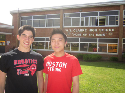 Alexander Evangelatos, 17, left, is this year's salutatorian at W.T. Clarke High School. Daniel Wang, 18, is the valedictorian.