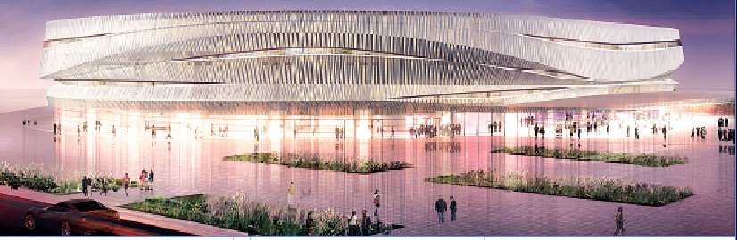 A photographic rendering of a reimagined Nassau Coliseum, featuring a beach-themed architectural design.