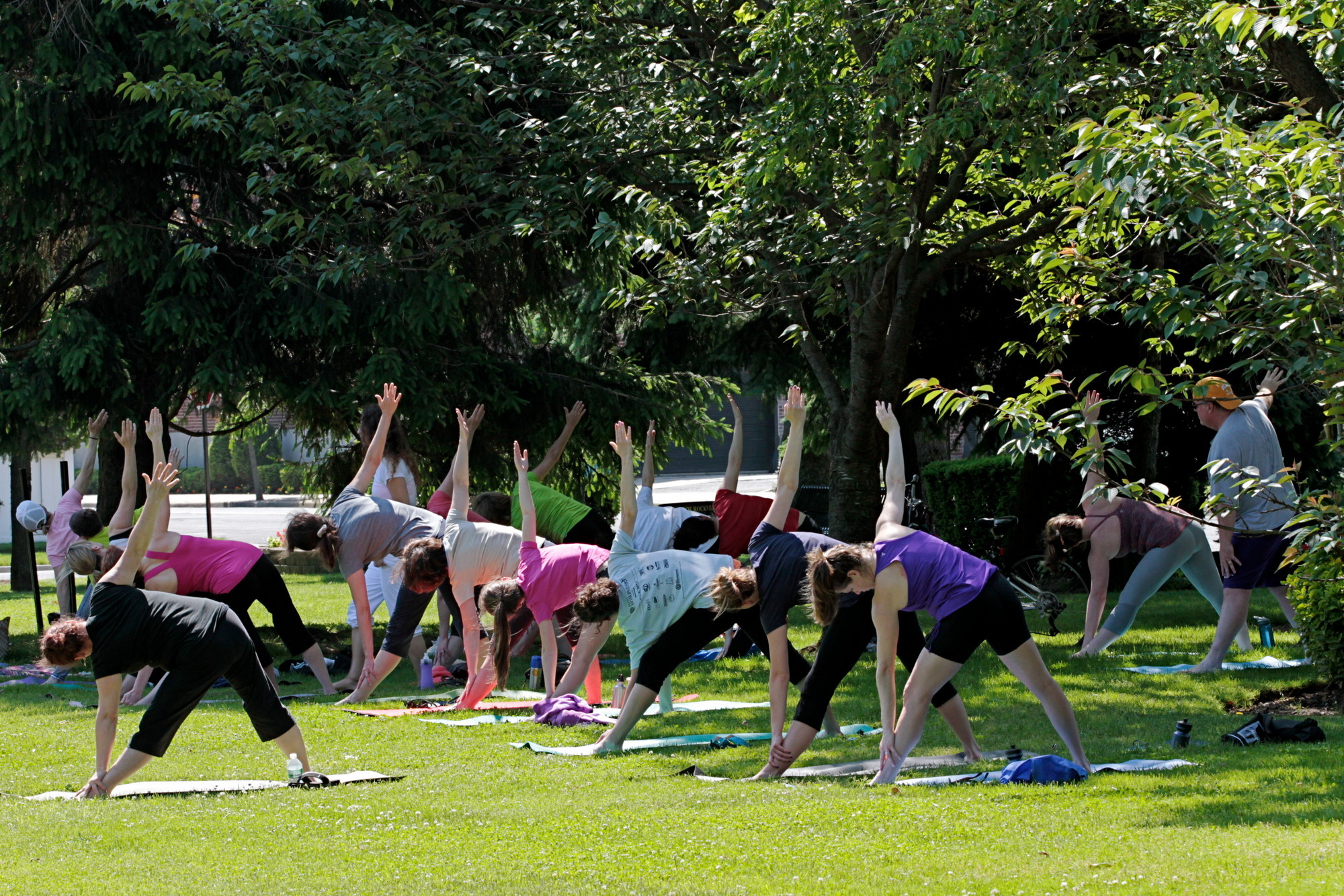 Residents came out last weekend for yoga on the Village Green. The classes run every Sunday until the end of June.