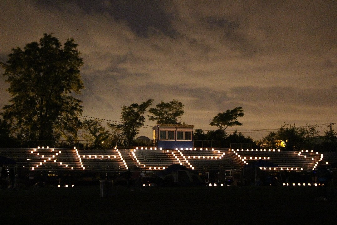 Luminous candles spelled out a clear message at Baldwin High School last Saturday while walkers circled the track in a fundraising effort.