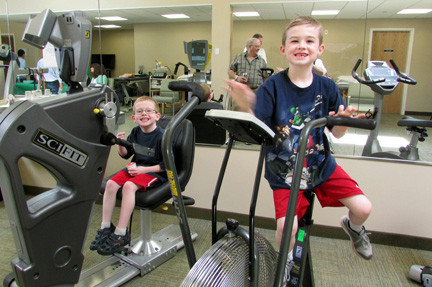 Owen Brennan, 6, and his brother, Billy, 8, tried the machines.