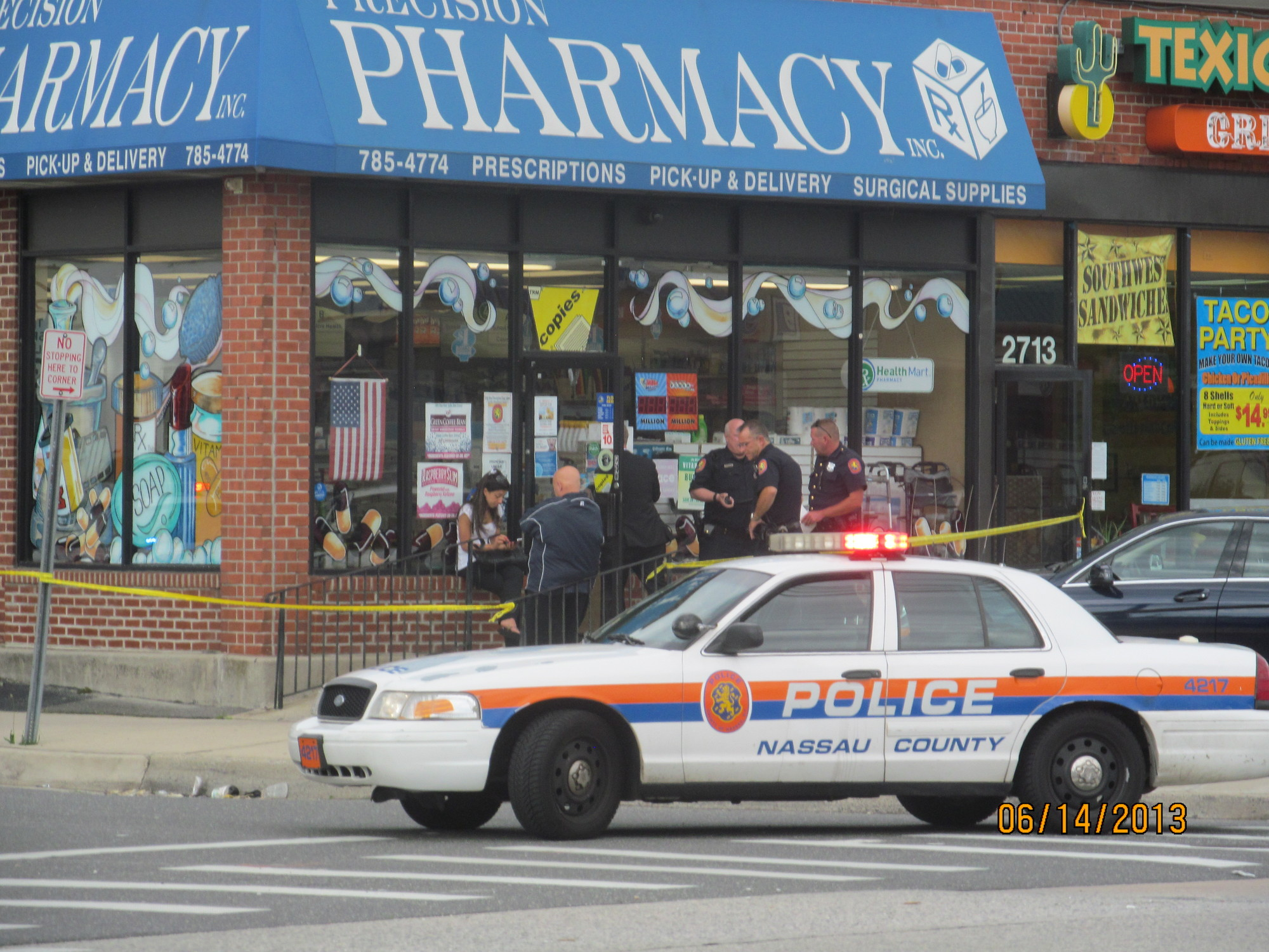 A Freeport man demanded prescription drugs from the counter at Precision Pharmacy in Bellmore last Friday.