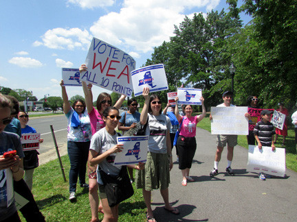 Protesters gathered on the westbound side of Sunrise Highway in Lynbrook last Saturday, calling on Sen. Dean Skelos to bring the Women�s Equality Act to the floor for a vote.