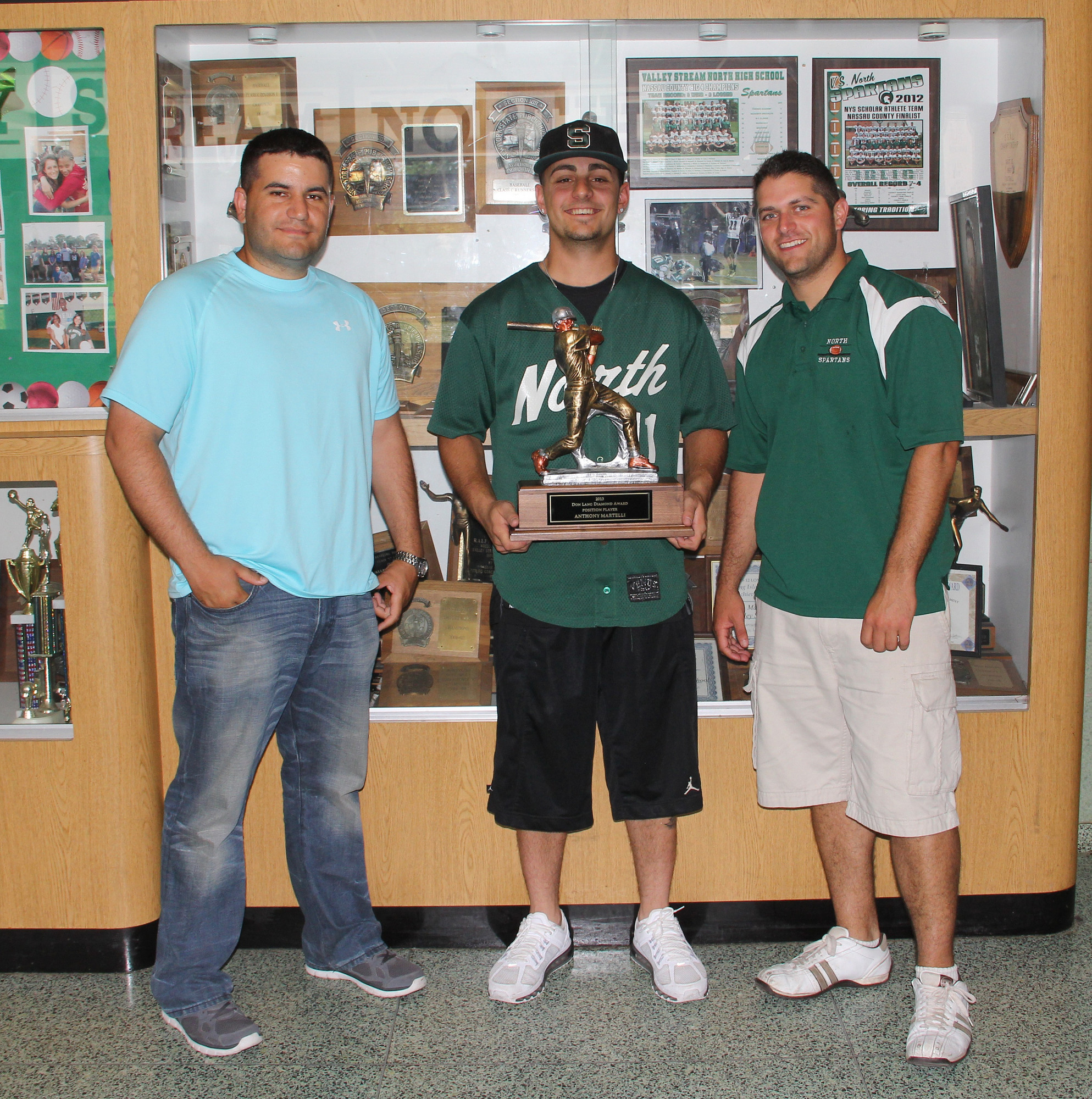 Valley Stream North head coach Phil Sanfilippo, Anthony Martelli and assistant coach James Casella