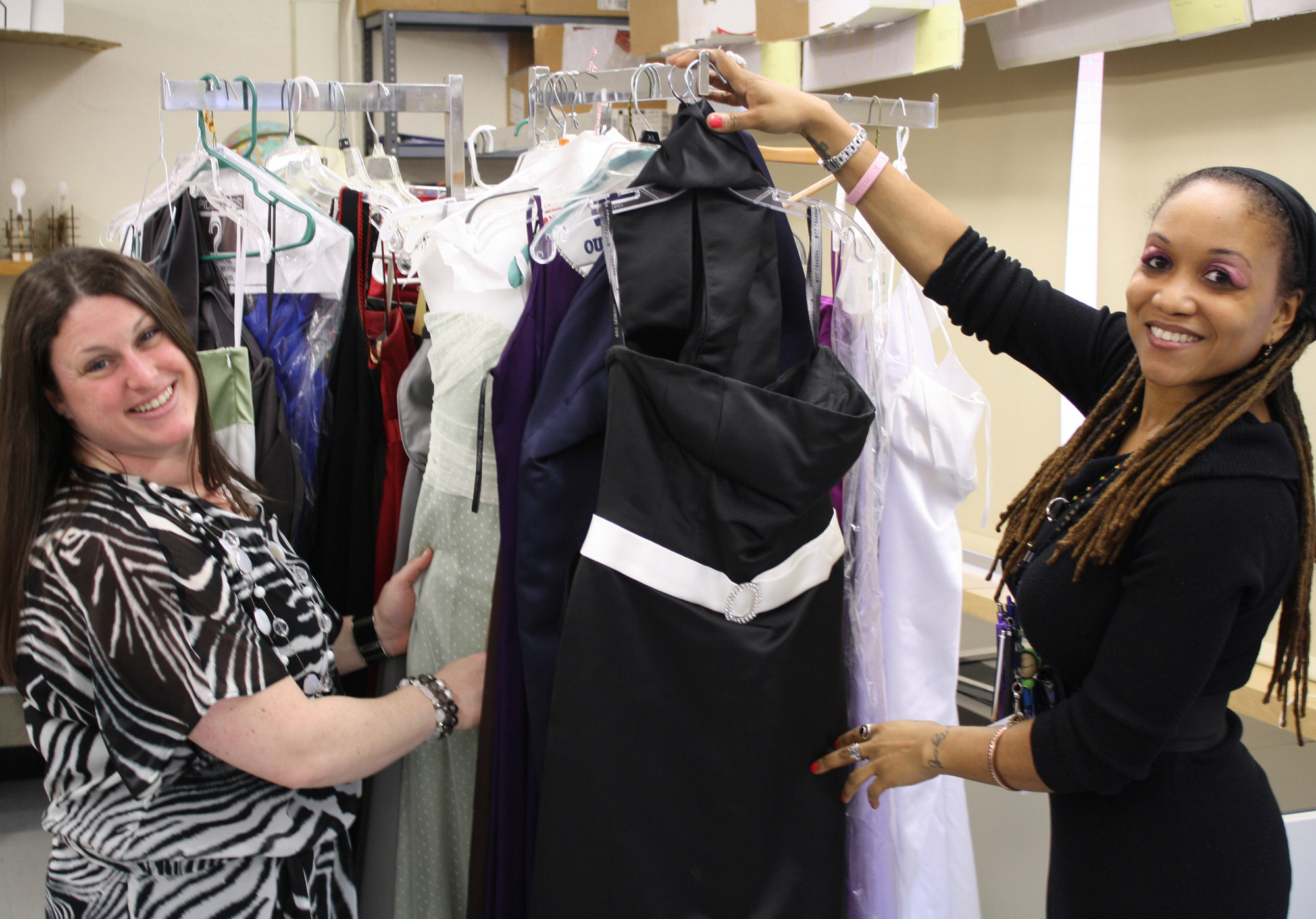 Teachers Adeline Scibelli and Nia Thompson helped 