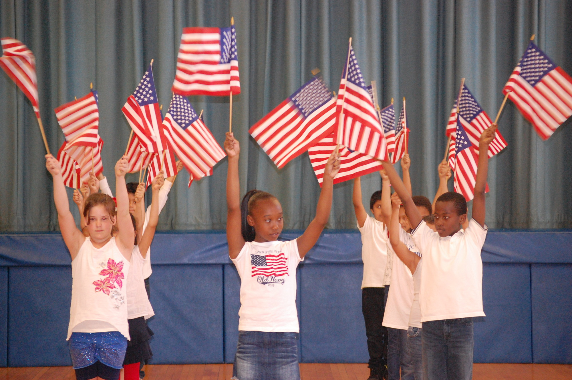 Students at the Robert W. Carbonaro School celebrated Flag Day with a choreographed presentation in the gymnasium on June 14.
