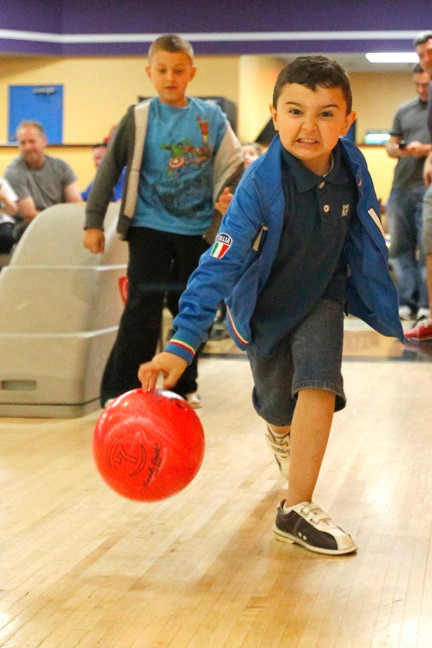 Six-year-old Michael Vukelic had a very intense look as he tried to roll a strike.