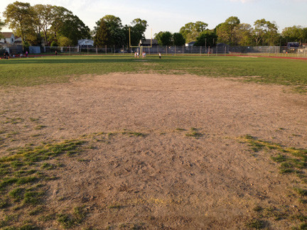 oponents of installing synthetic-turf athletic fields at the Bellmore-Merrick Central School District�s three high schools came to the June 5 Board of Education meeting dressed in red as a show of solidarity. They protested the condition of the high schools� fields, which have a number of barren patches, like this one at Calhoun High School in Merrick.
