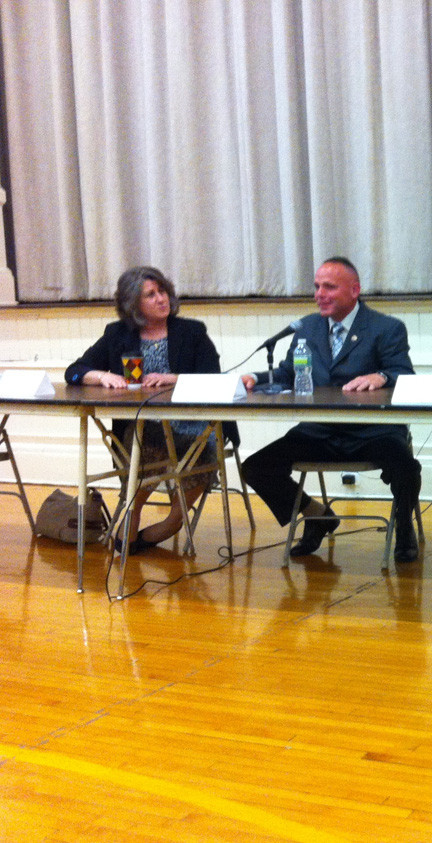 JoAnn DeLauter and Frank LaMagra discussed issues facing the North Bellmore School District at the last candidates' forum in May.