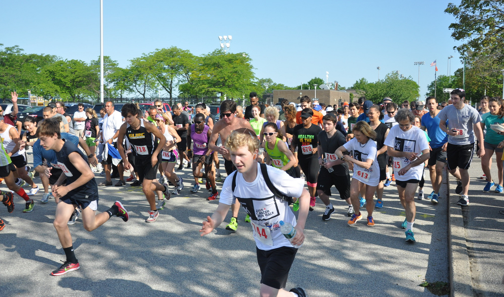 The Richard Brodsky Foundation raised $2,300 for multiple organizations through its annual 5K run/walk. The start of the race at North Woodmere County Park.