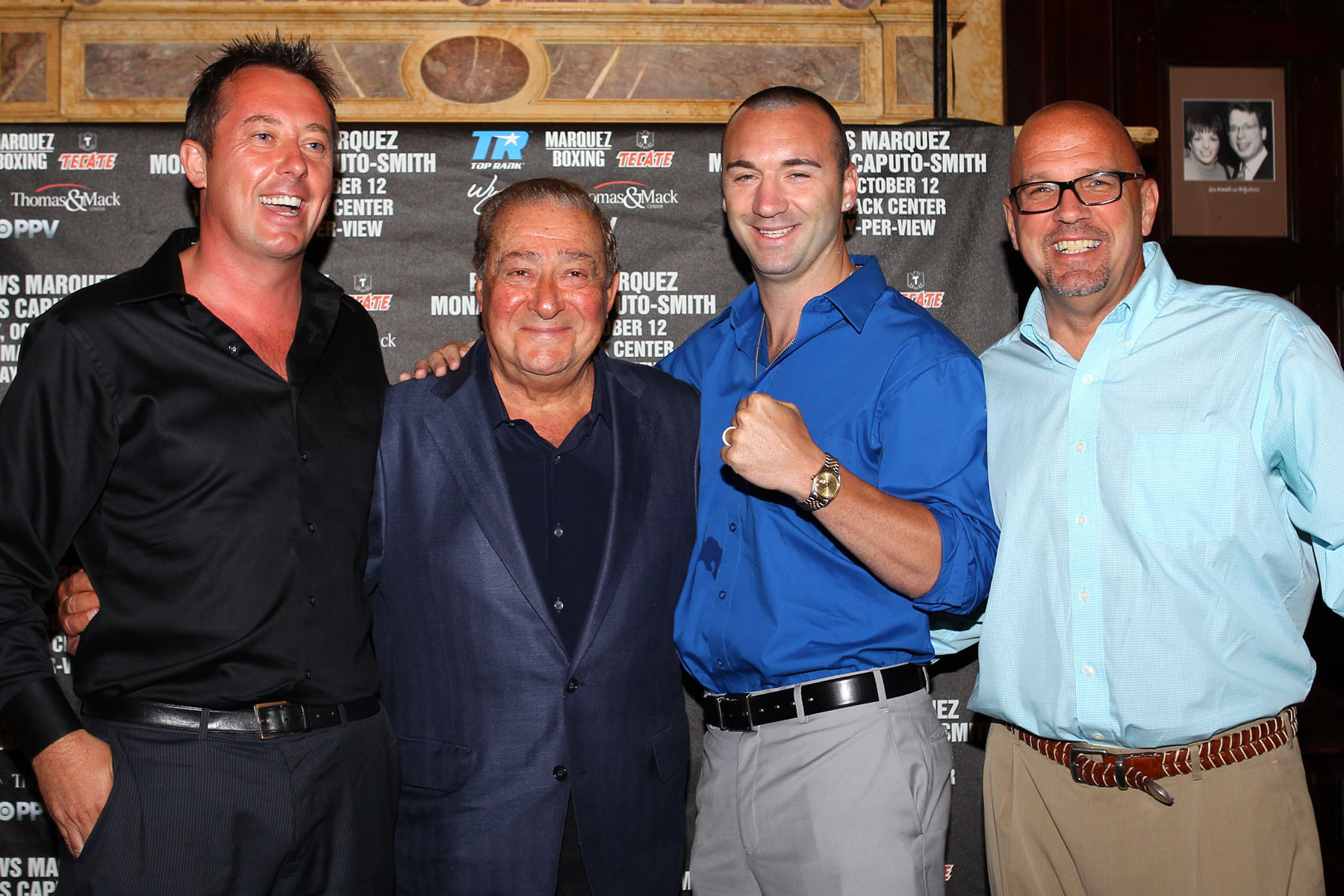 Monaghan's Manager, P.J. Kavanagh, far left, promoter and Top Rank co-founder Bob Arum, Monaghan and Top Rank Vice President Carl Moretti at Tuesday's press conference at the Friars Club.