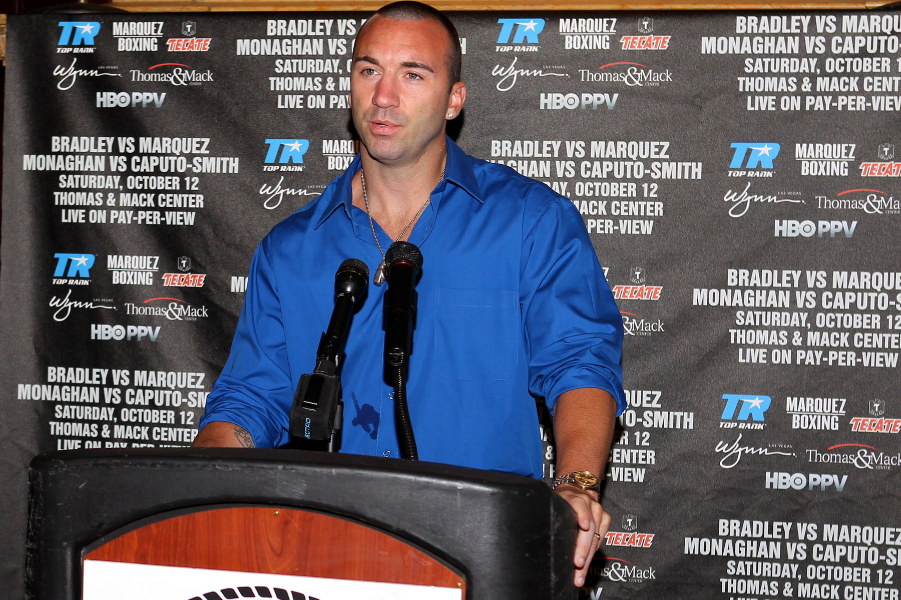 Monaghan said that Top Rank, Inc. is promoting his first fight in Las Vegas.