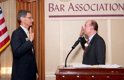 Peter Mancuso received the oath of office from Nassau County District Court Judge Colin O�Donnell.
