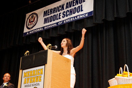 Alaina Anderson, valedictorian of Merrick Avenue Middle School's Team 7, congratulated her classmates.