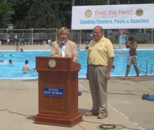 Standing in front of the swimming pool at Veterans Memorial Park in East Meadow, Town of Hempstead Supervisor Kate Murray, joined by Councilman Gary Hudes, announced the opening of 15 cooling centers throughout the township.
