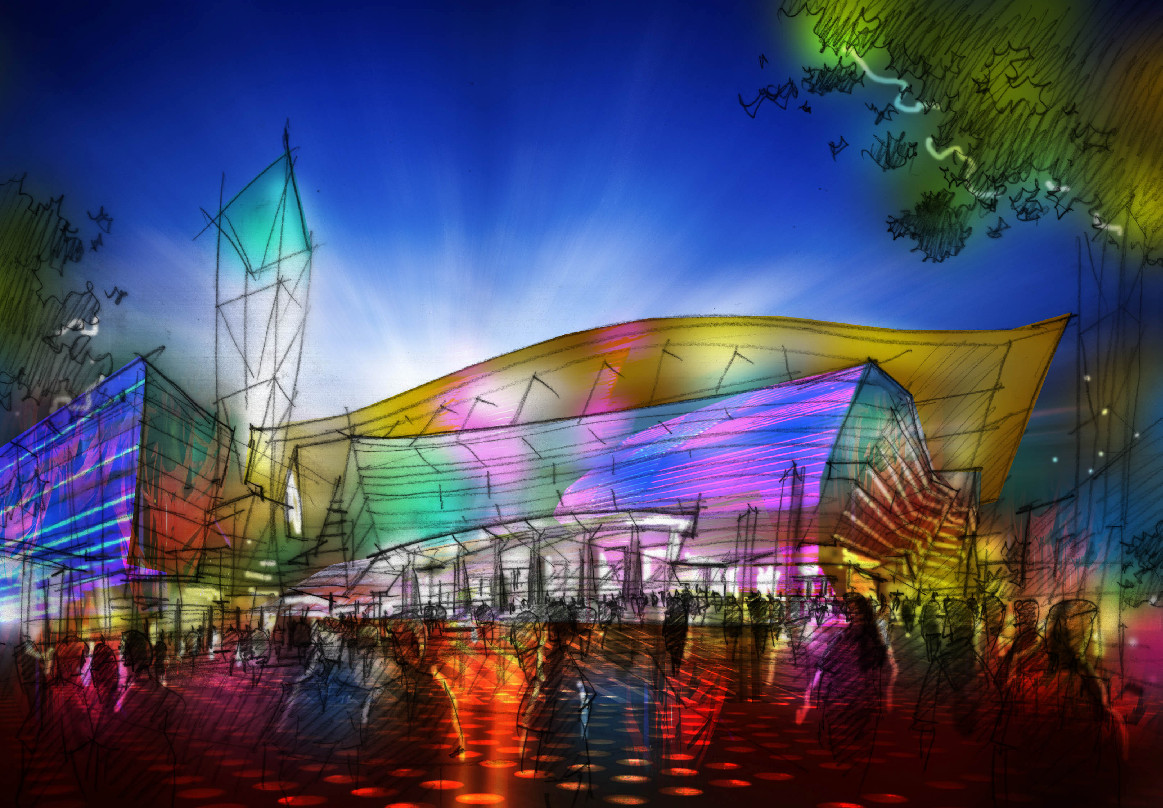 A photographic rendering of a brand new Nassau Coliseum, imagined by the Blumenfeld Development Group, who want to demolish the 41-year-old complex and build a new one.