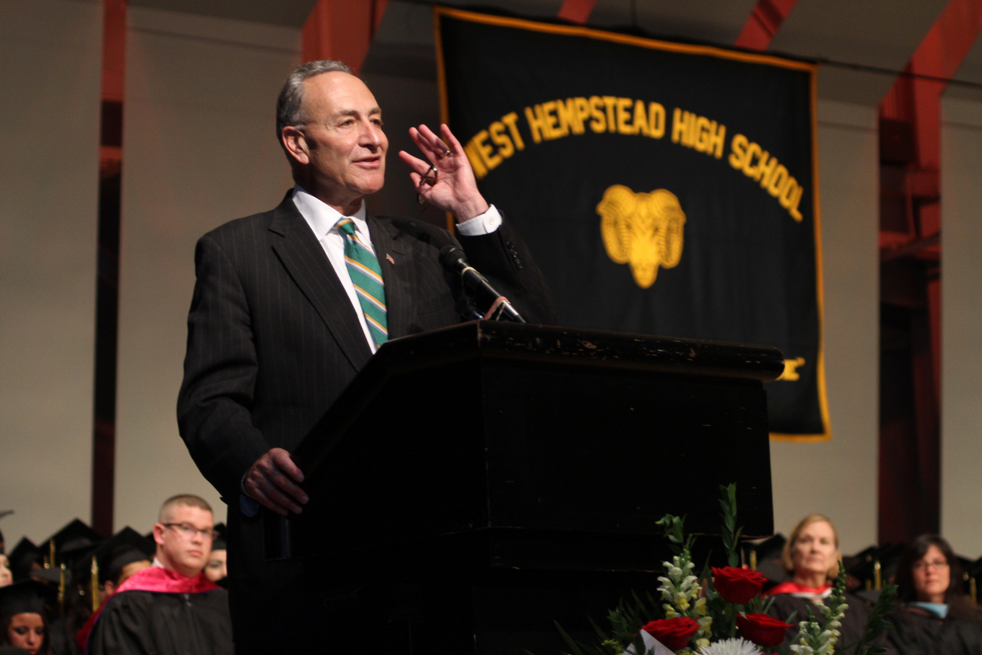 "Senator Chuck Schumer encouraged West Hempstead graduates to choose their ambitions and ""go for it."""