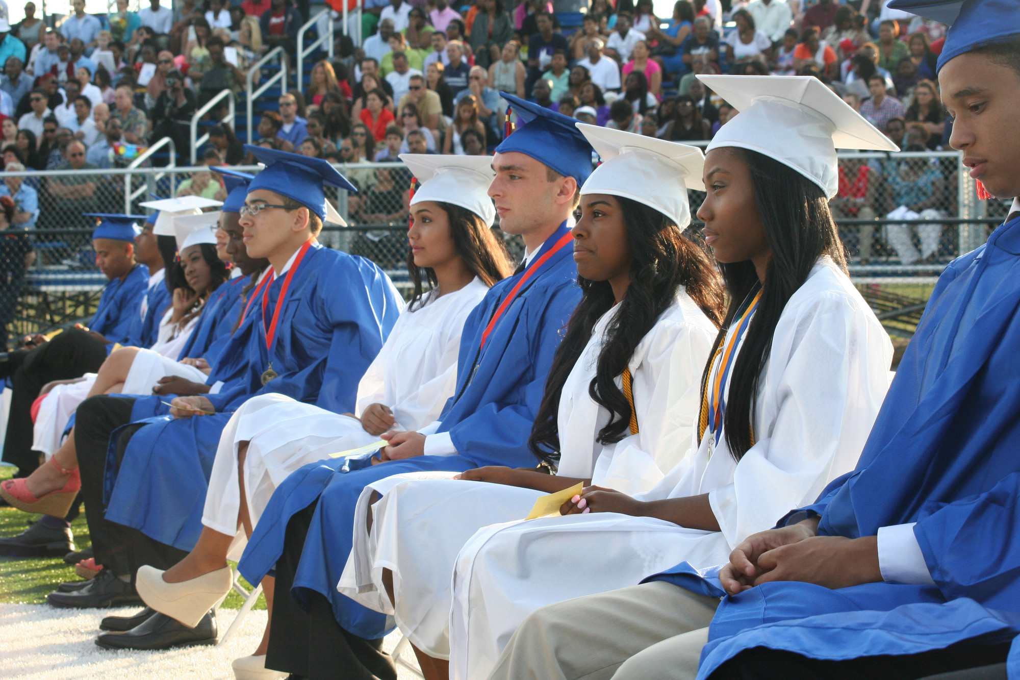 Malverne High School graduates listened to Superintendent Dr. James Hunderfund as they awaited the presentation of diplomas.
