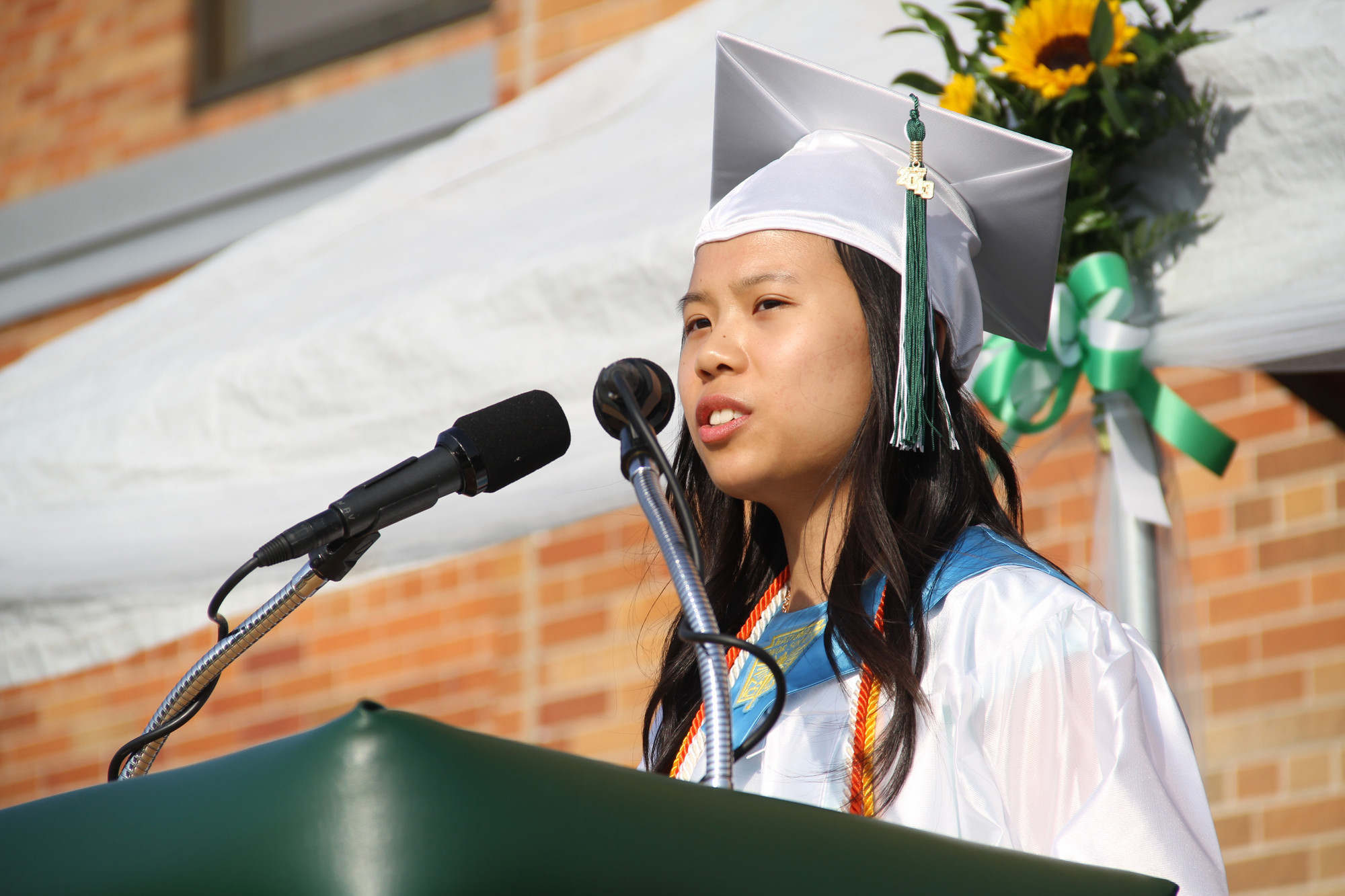 Valedictorian Michelle Chen encouraged her fellow graduates to live life to the fullest.