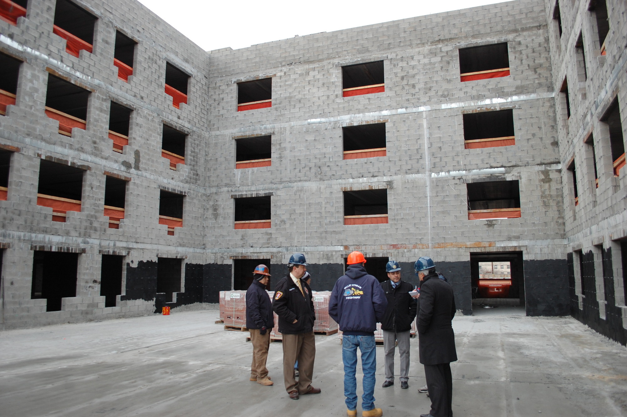 Village Officials toured the Sun Valley Towers complex earlier this year. It will include retail and housing space.