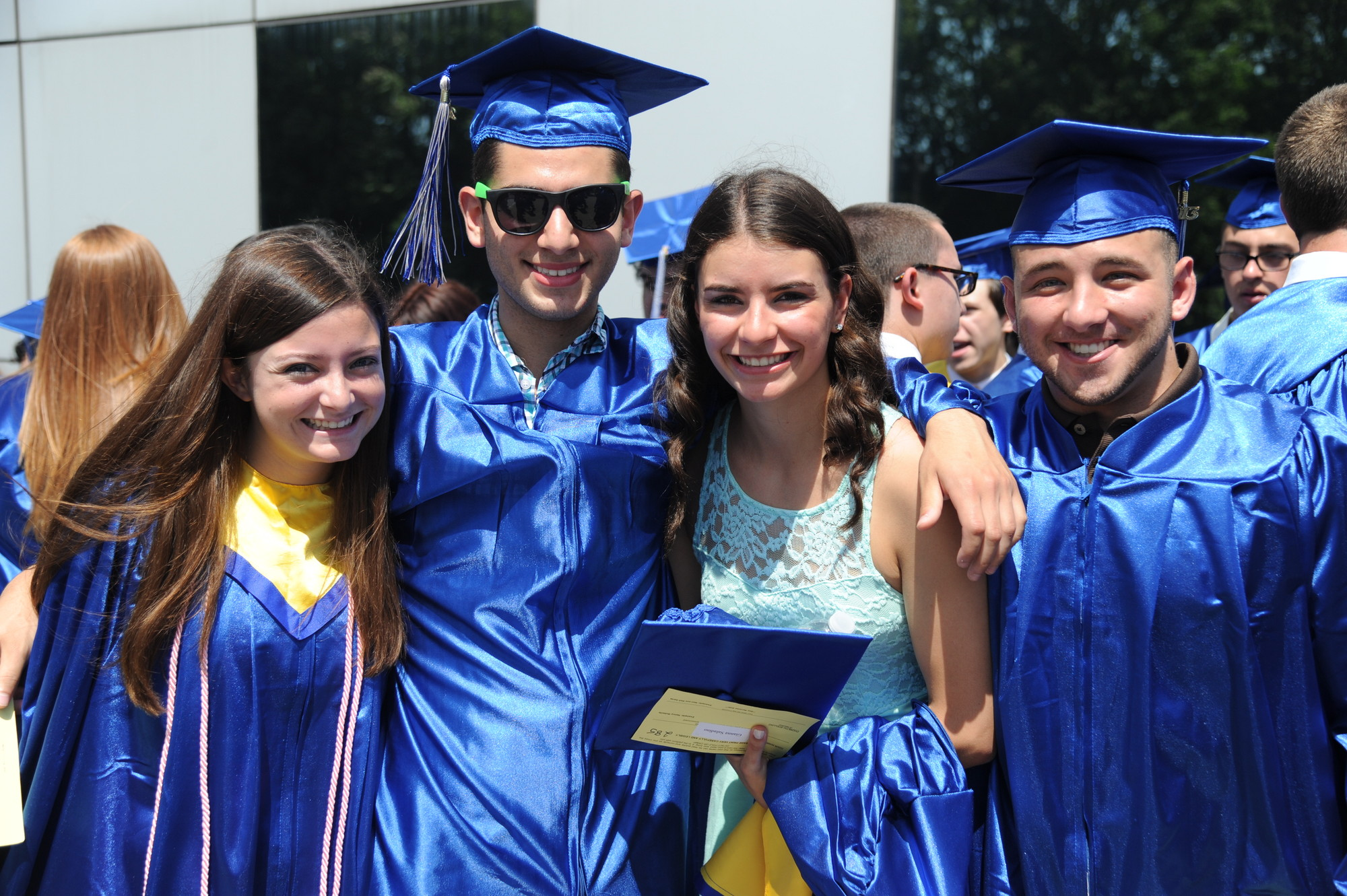 Gabrielle Shaw, Shaun Samuels, Gianna Saladino and  Anthony Schiano were all smiles on graduation day.