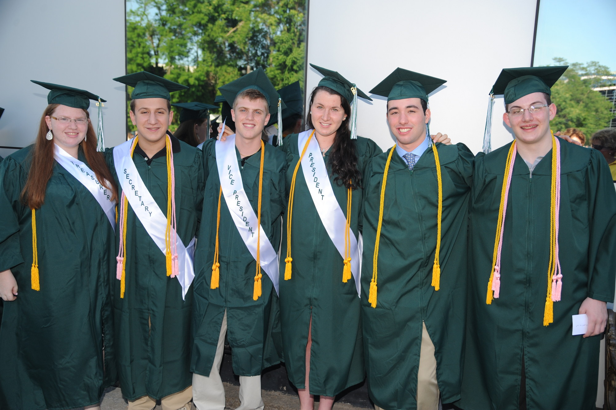 Rachel Szteinberg, class treasurer, Dan Bertan, class secretary, Jason Gura, class vice president, Kerri Stalzer, class president, Jordan Liebman, salutatorian, and Eric Fegan, valedictorian, led the Kennedy class of 2013.