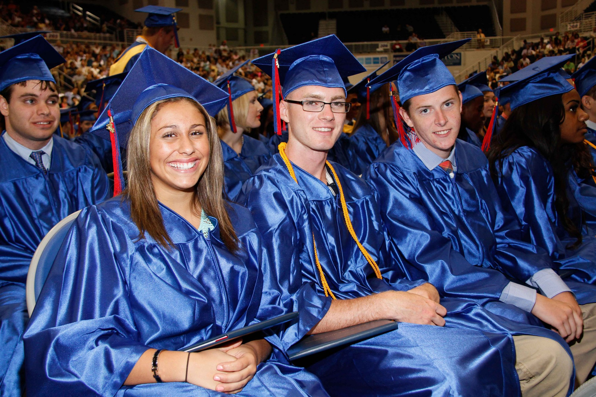 Tina Barricelli, Justin Barrero and Liam Baker were all smiles after receiving their diplomas.