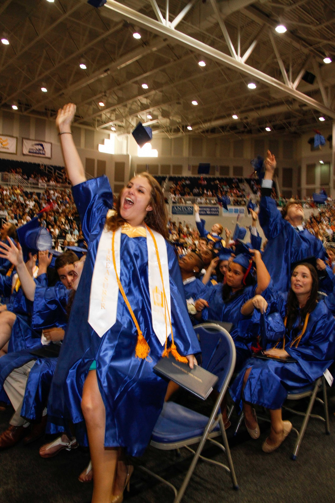 Jennifer Gentile jumped for joy as the class graduated.
