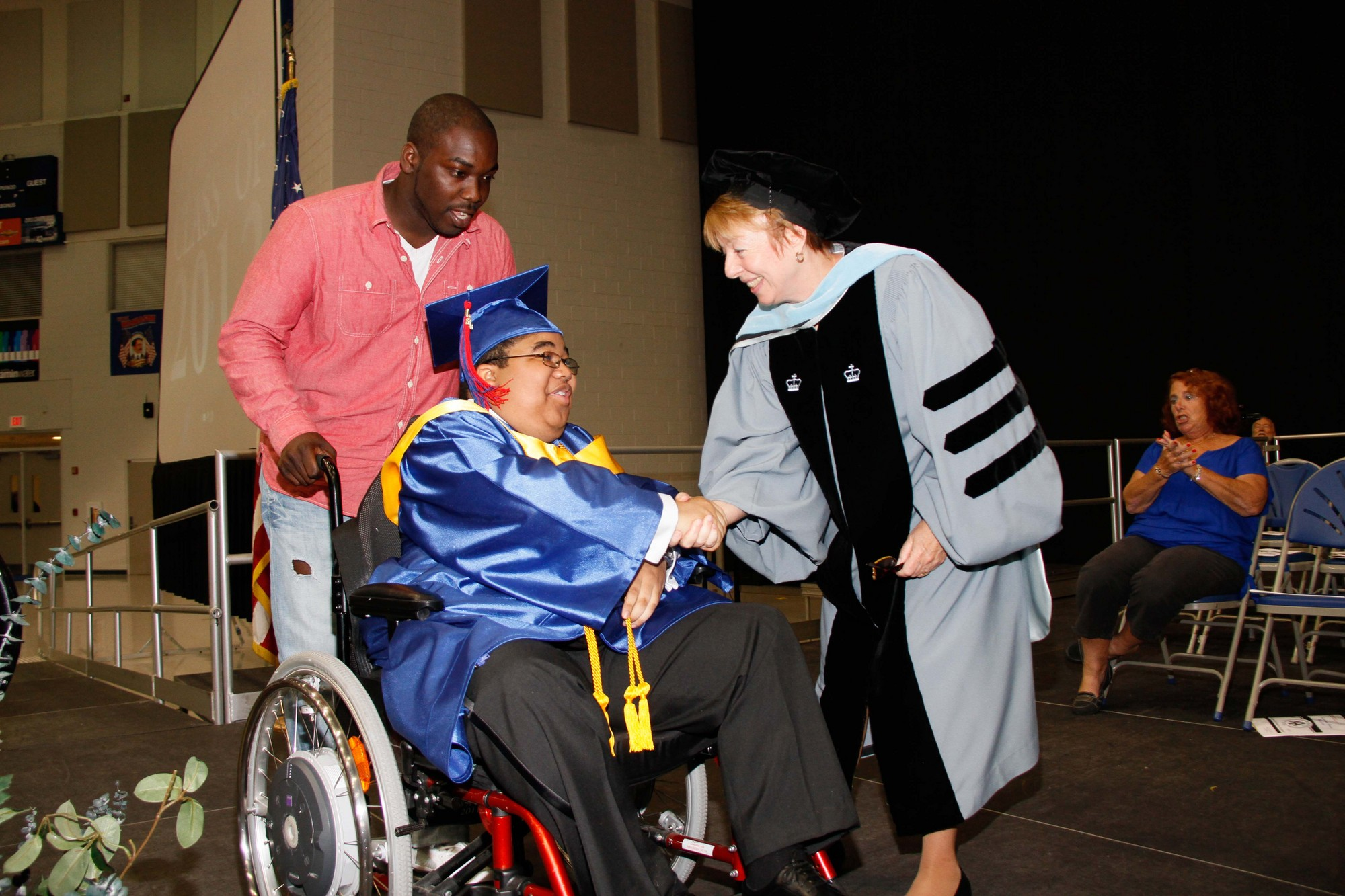 was awarded his diploma by South Side Principal Dr. Carol Burris.
