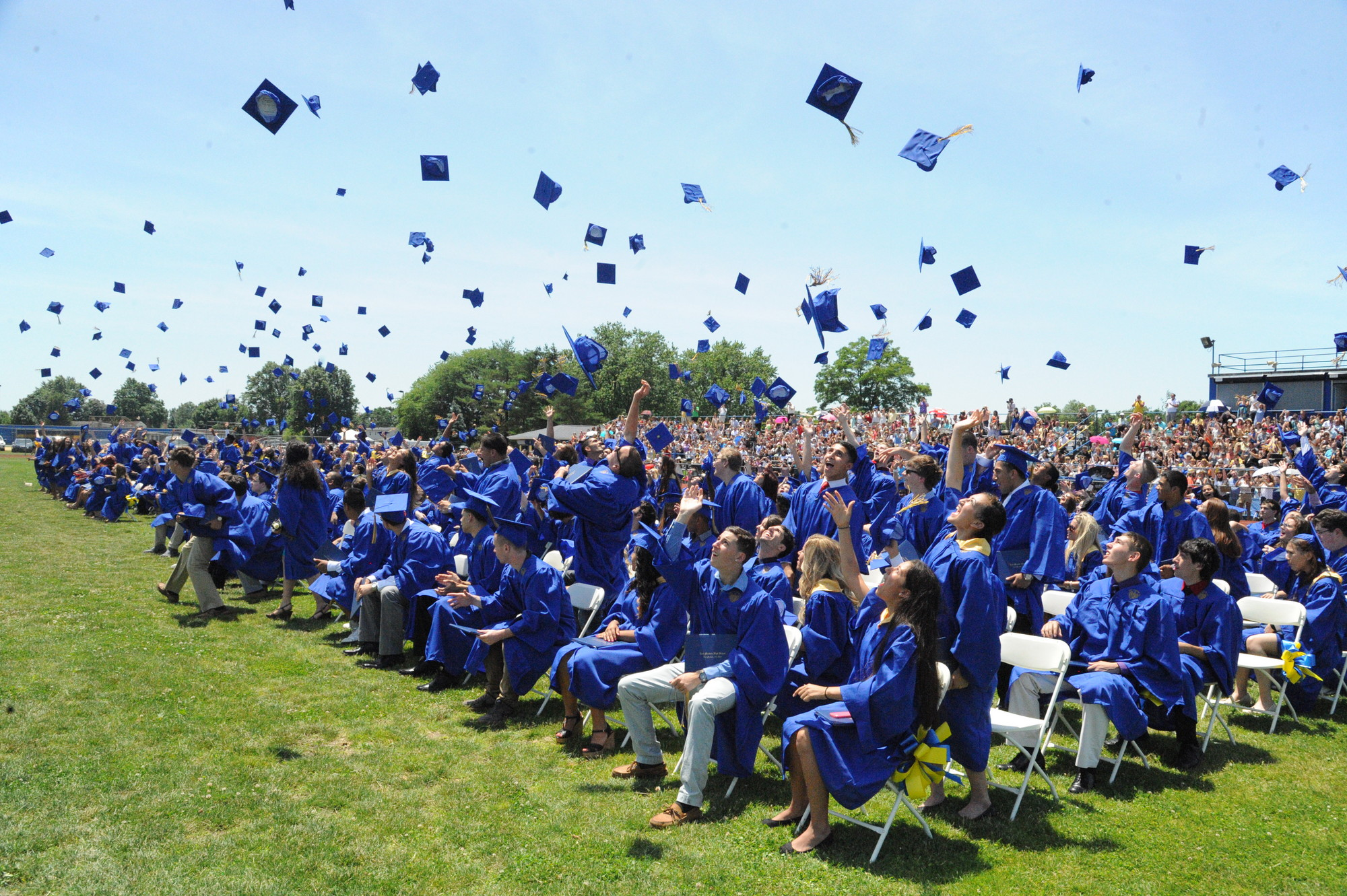 The East Meadow graduates celebrated at the end of Sunday's graduation ceremony