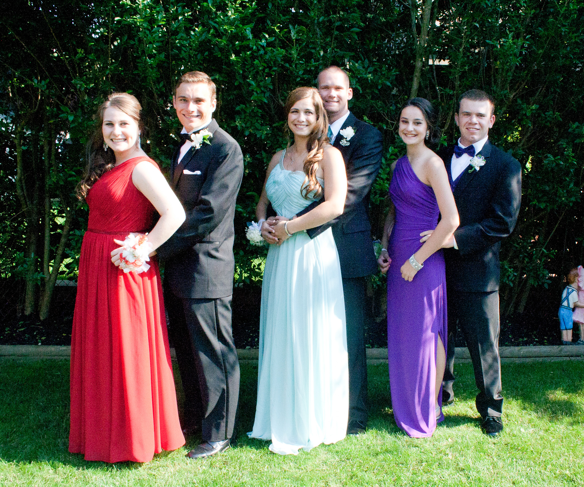 Members of the Calhoun Colts football team, Michael Kotowski, Scott Halloran and Matthew Pilotti, took pictures with their dates, Carli Messeite, Haylee Soloman and Alyssa Garbarino.