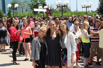 Herald interns Diana Dietrich, at left,  Jess Rosen and Grace Poppe outside of the X Factor auditions