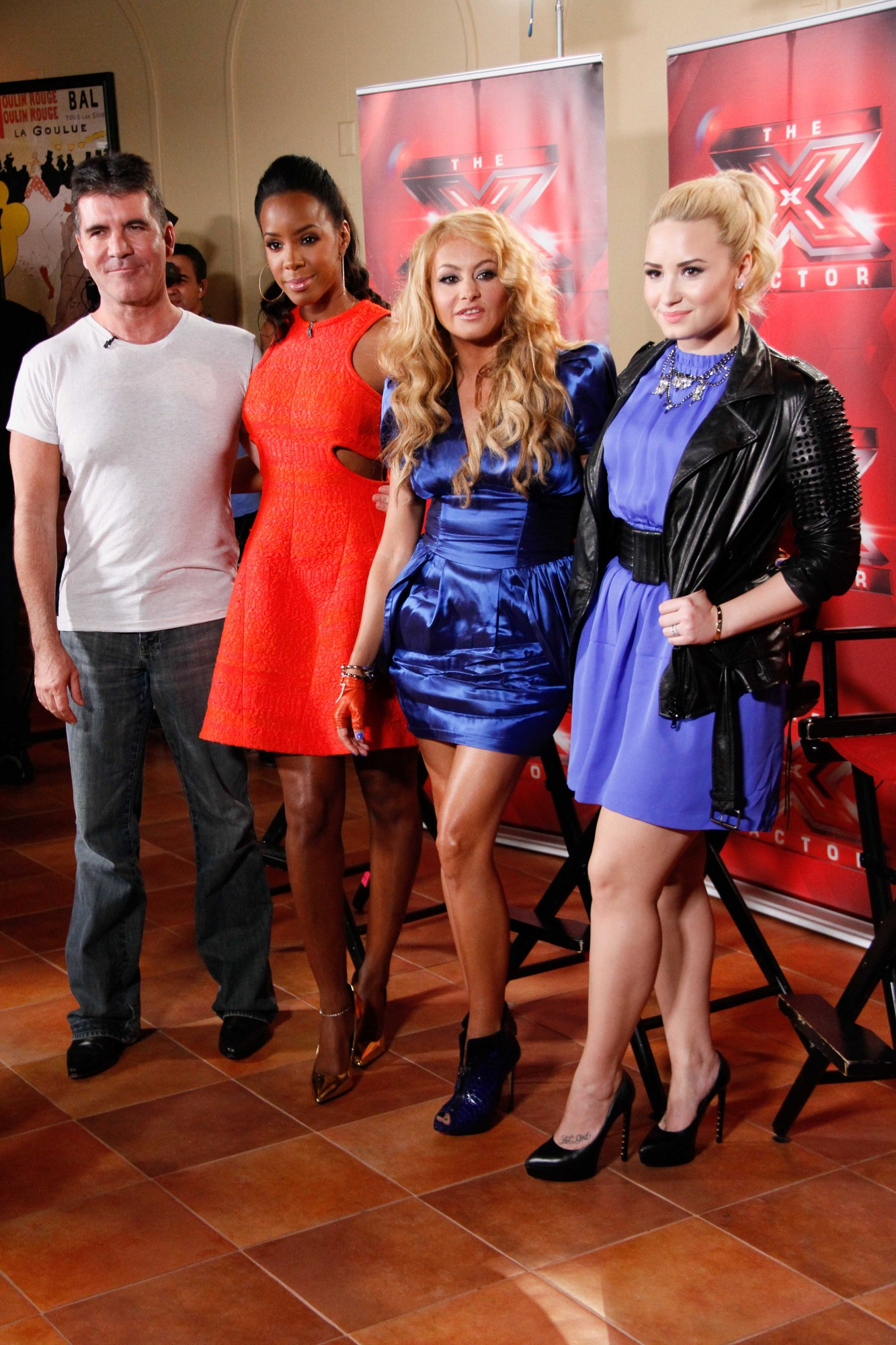 X Factor judges, from left, Simon Cowell, Kelly Rowland, Paulina Rubio and Demi Lovato during a press conference at the Nassau Coliseum