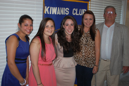 Kiwanis Club scholarship recipients Jessica Vespoli, Aimée Kaplan and Kayla Neske are joined by Kiwanis Vice President Karin Hayat, left, and President Bob Coppola, right.