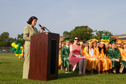 Superintendent Melissa Burak addressed the class of 2013.