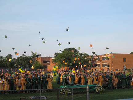 Recently Lynbrook High School graduates tossed their caps into the air.