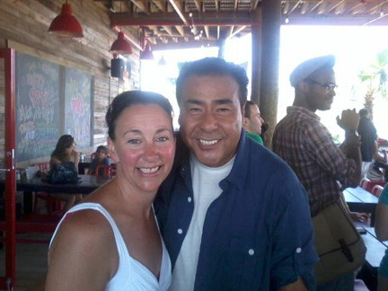 "Deidre Stammers poses with John Quinones, host of the ABC show ""What Would You Do?"""
