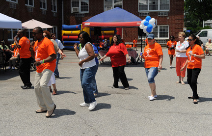 The staff and friends did the Electric Slide, to the delight of the crowd.
