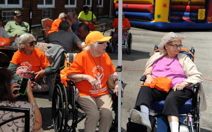 Residents enjoyed the music and the show at the block party.