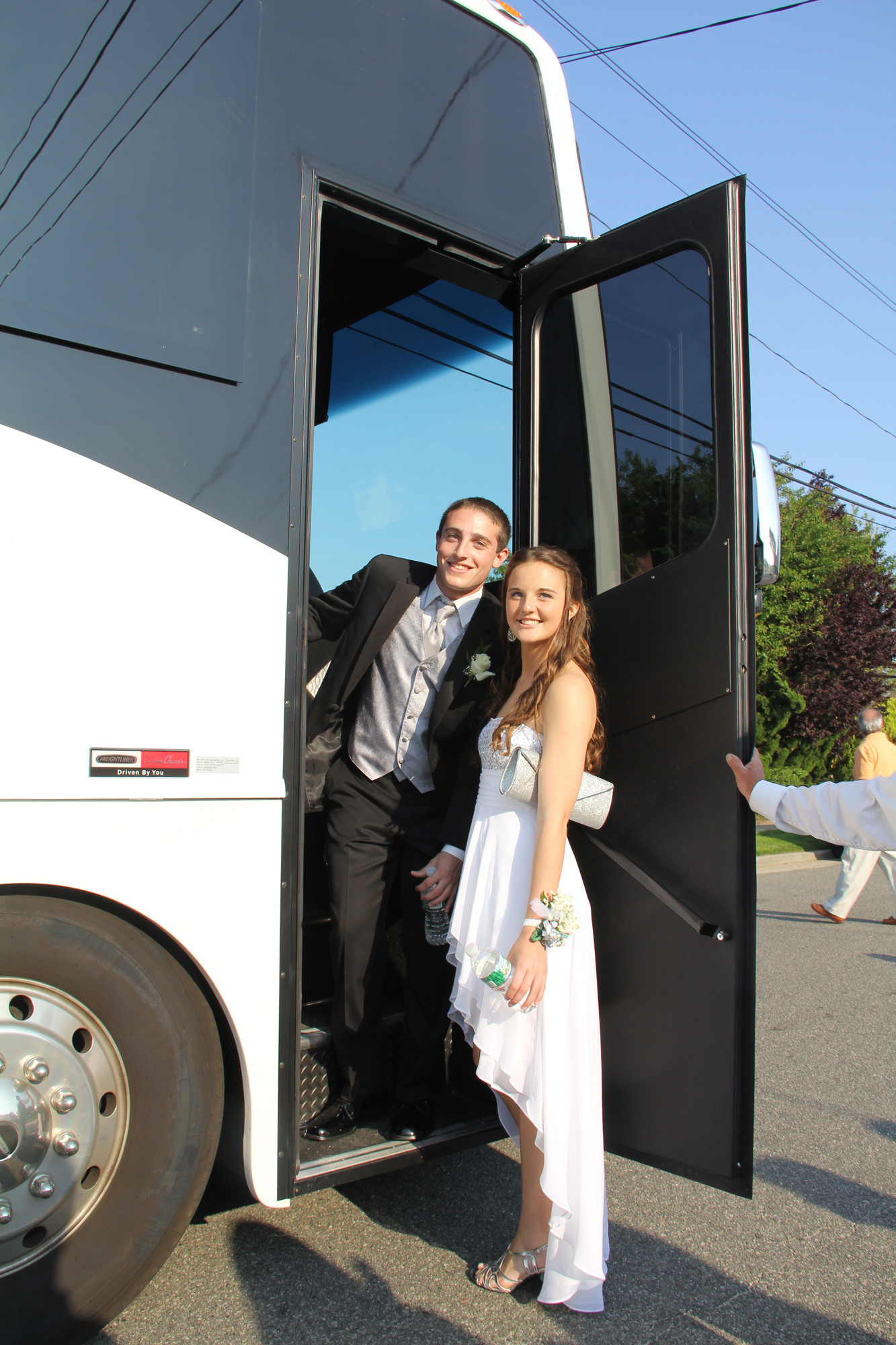 Russell Goetz and his date, Jenn Hurst, boarded the limo before heading to the prom.