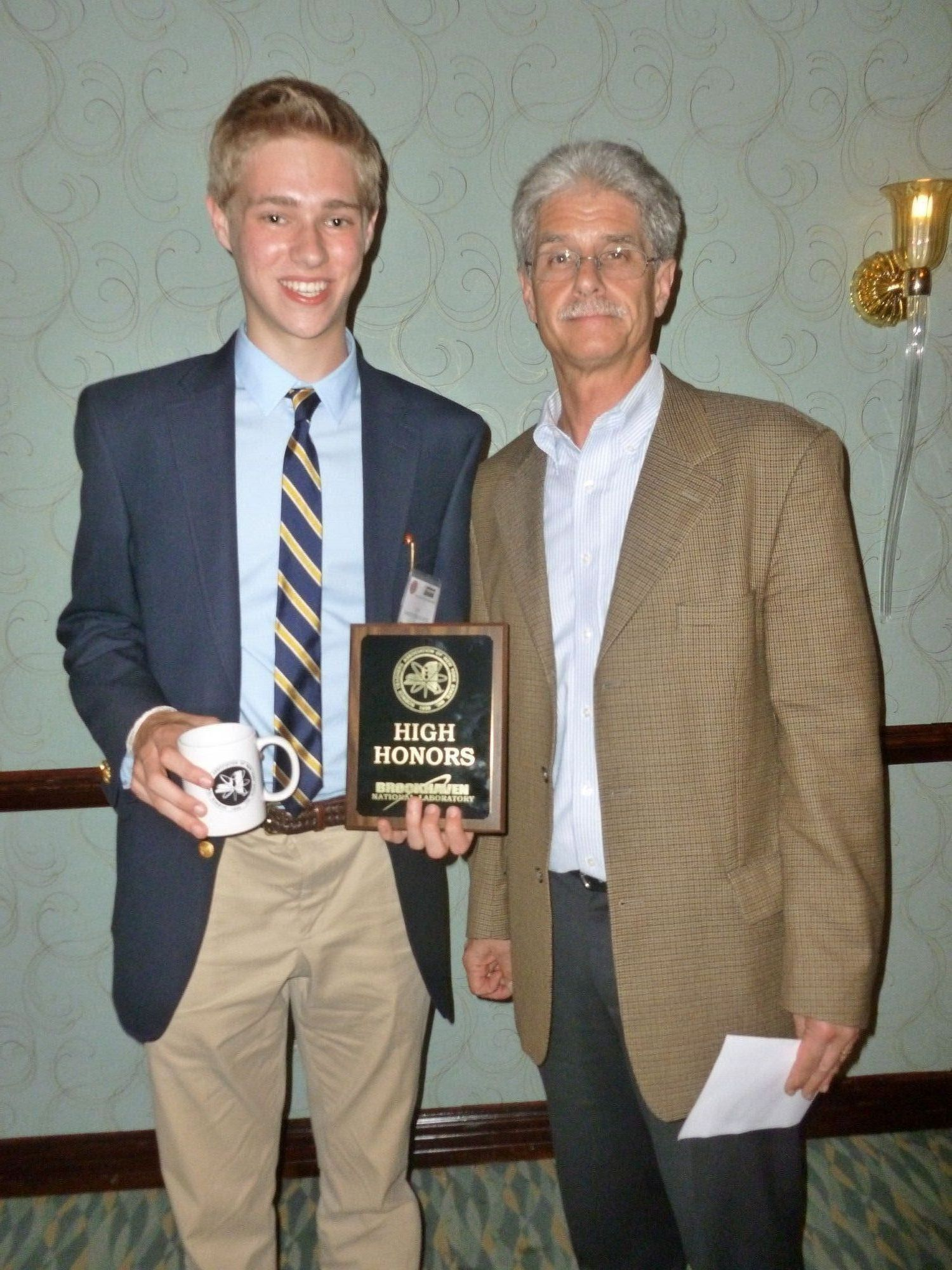 Finalist Chris McAvoy with Glen Cochrane, director of the New York State Science Congress.